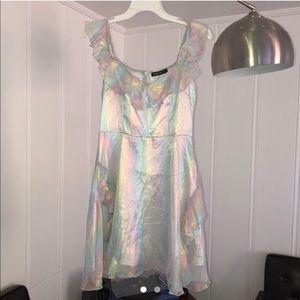 NWOT Iridescent Holographic Holographic Mini Dress